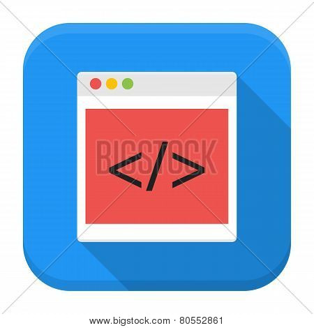 Coding Browser App Icon With Long Shadow