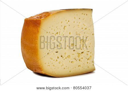 Piece Cheese With Small Holes Side View