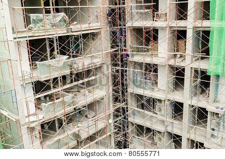 Scaffolding On A Building Wall