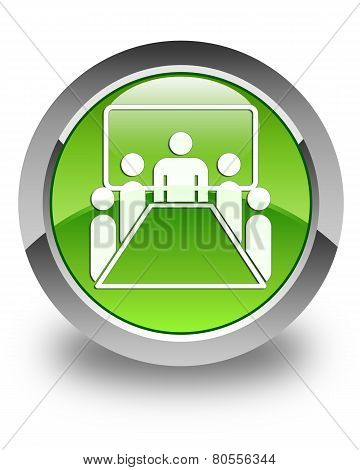 Meeting Room Icon Glossy Green Round Button