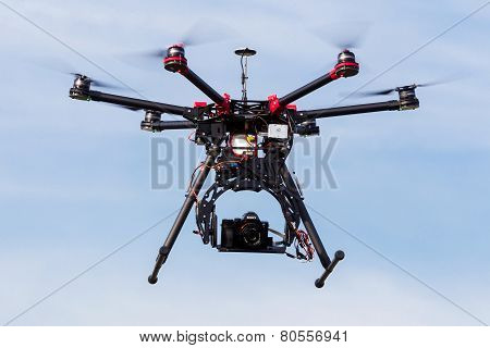 Dji S900 Drone In Flight With A Mounted Sony A7  Edition Digital Camera In Athens, Greece.