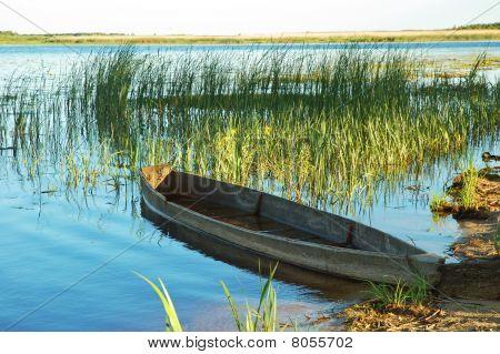 Beautiful Lake And Old Boat