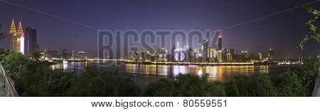 panoramic skyline and cityscape of  modern city,Chongqing at night