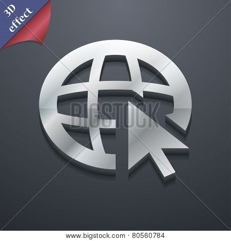 World Wide Web Icon Symbol. 3D Style. Trendy, Modern Design With Space For Your Text Vector