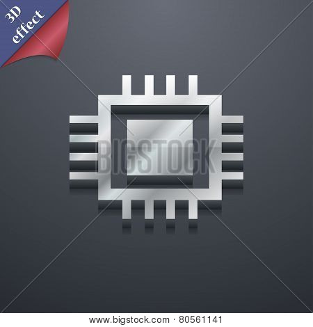 Central Processing Unit Icon Symbol. 3D Style. Trendy, Modern Design With Space For Your Text Vector