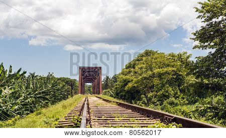 Iron Bridge In A Railroad