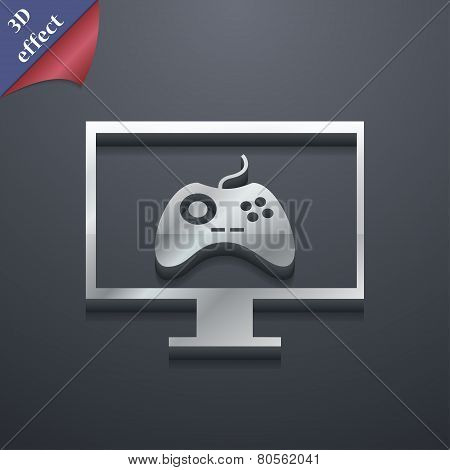 Joystick And Monitor  Icon Symbol. 3D Style. Trendy, Modern Design With Space For Your Text Vector