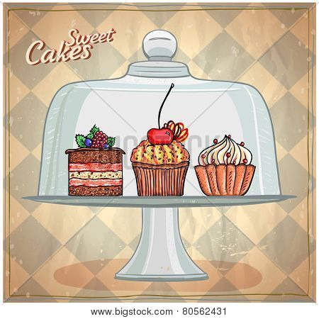 Set of cute cakes under glass dome, retro style