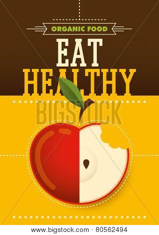 Organic food poster design. Vector illustration.