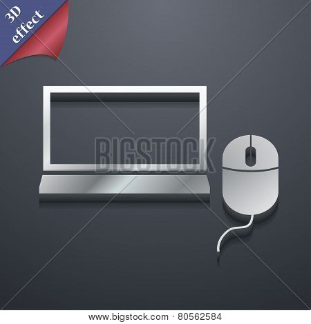 Computer Widescreen Monitor, Mouse Icon Symbol. 3D Style. Trendy, Modern Design With Space For Your
