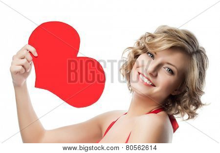 portrait of attractive  caucasian smiling woman  isolated on white studio shot with heart