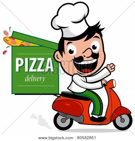 Italian pizza delivery chef in scooter