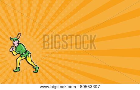 Business Card Elf Baseball Player Batting Isolated Cartoon