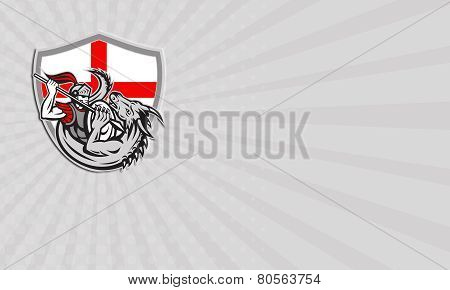 Business Card English Knight Fighting Dragon England Flag Shield Retro