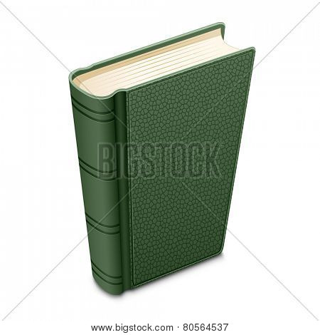 Green book. Detailed vector illustration of textured cover books