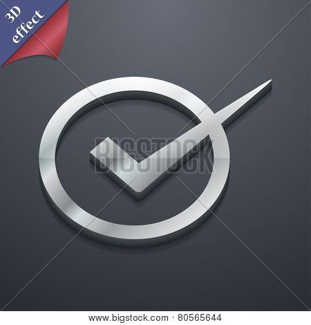 Check Mark Icon Symbol. 3D Style. Trendy, Modern Design With Space For Your Text Vector