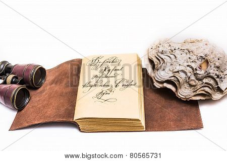 Opened old leather book