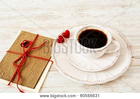Valentine's Day Celebration Coffee Set With Greeting Card.