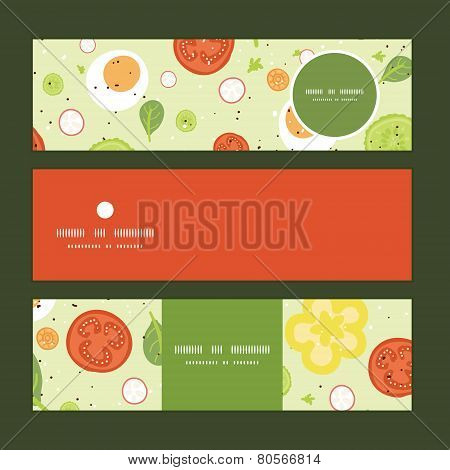 Vector fresh salad horizontal banners set pattern background