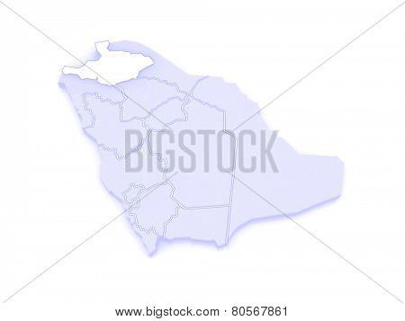Map of Al-Jawf. Saudi Arabia. 3d