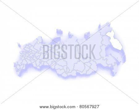 Map of the Russian Federation. Kamchatka Krai. 3d