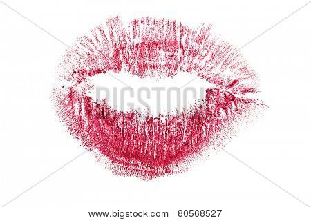 red lips imprint isolated on white background