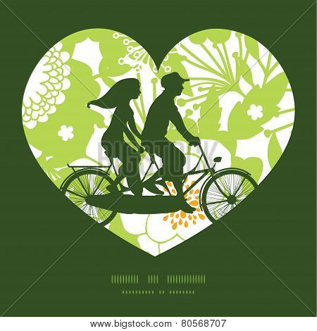 Vector green and golden garden silhouettes couple on tandem bicycle heart silhouette frame pattern g
