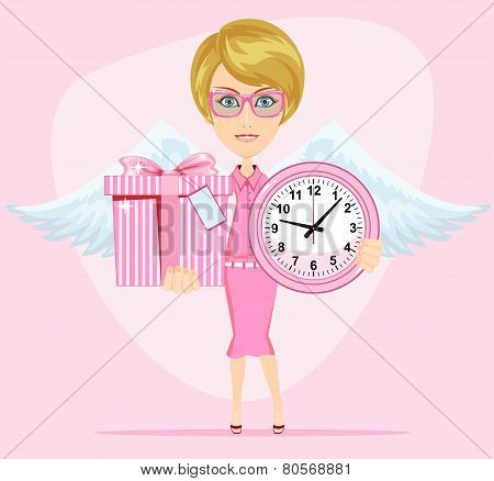 Angel holding a pink watchs and gifts with beautiful wings