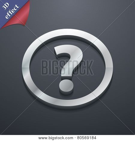 Question Mark Icon Symbol. 3D Style. Trendy, Modern Design With Space For Your Text Vector