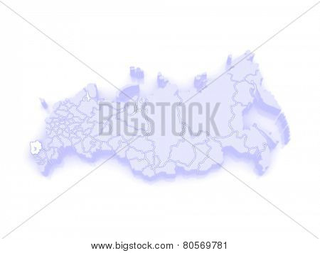 Map of the Russian Federation. Krasnodar region. 3d