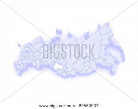 Map of the Russian Federation. Novosibirsk region. 3d