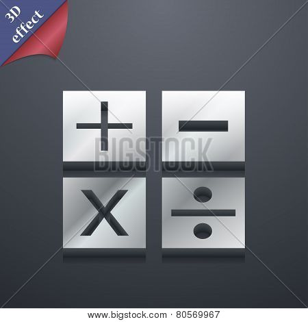 Mathematics Icon Symbol. 3D Style. Trendy, Modern Design With Space For Your Text Vector