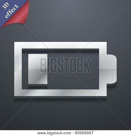 Battery Low Level Icon Symbol. 3D Style. Trendy, Modern Design With Space For Your Text Vector