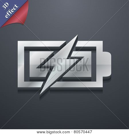 Battery Charging Icon Symbol. 3D Style. Trendy, Modern Design With Space For Your Text Vector