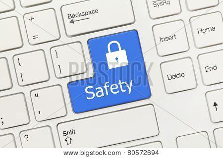 White Conceptual Keyboard - Safety (blue Key)