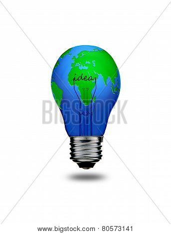 Earth In Light Bulb Isolated On White Background