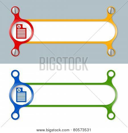 Vector Abstract Colored Frame And Document Icon And Ampersand
