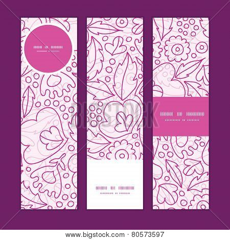 Vector pink flowers lineart vertical banners set pattern background