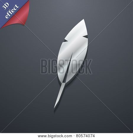 Feather Retro Pen Icon Symbol. 3D Style. Trendy, Modern Design With Space For Your Text Vector
