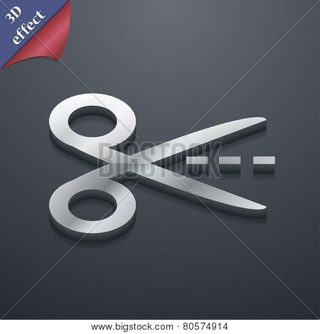 Scissors Cut Dash Dotted Line Icon Symbol. 3D Style. Trendy, Modern Design With Space For Your Text