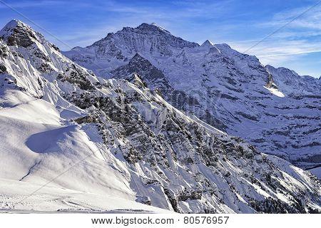 Tschuggen And Jungfrau Peaks In Winter