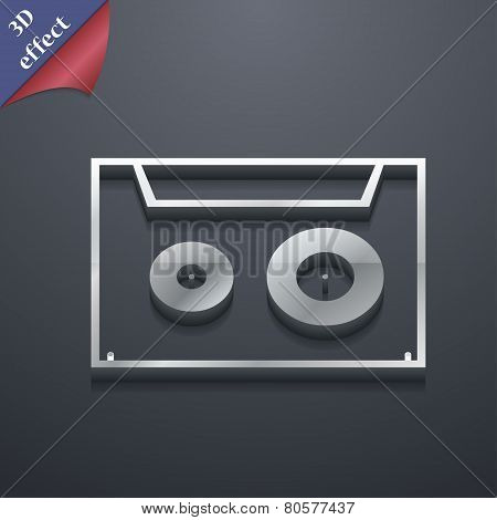 Cassette Icon Symbol. 3D Style. Trendy, Modern Design With Space For Your Text Vector