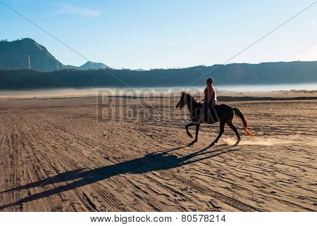 Horse Rider At Volcanic Plateau Of Mount Bromo, Indonesia
