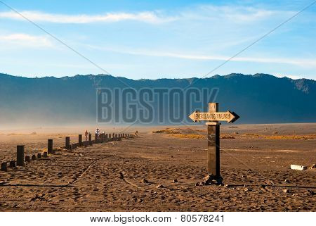 Sign Towards Bromo Mountain, Java, Indonesia