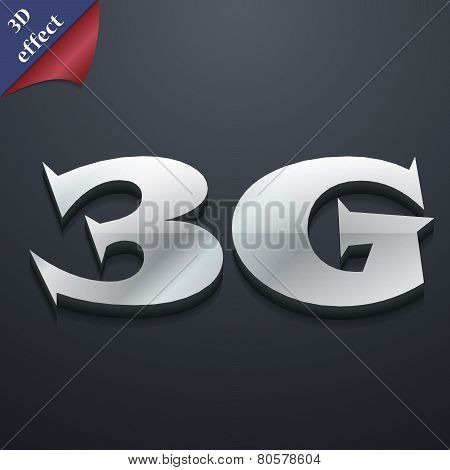 3G Icon Symbol. 3D Style. Trendy, Modern Design With Space For Your Text Vector