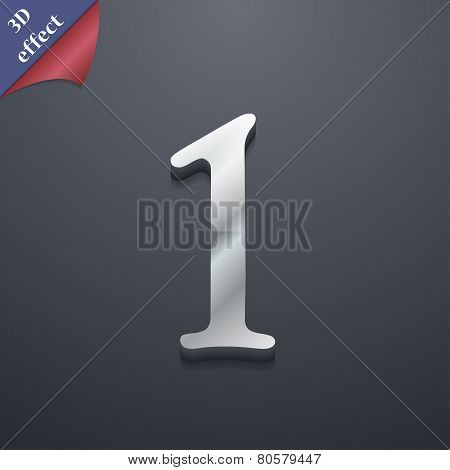 Number One Icon Symbol. 3D Style. Trendy, Modern Design With Space For Your Text Vector