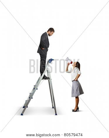 displeased businessman standing on the stepladder and looking down at angry screaming woman with megaphone. isolated on white background