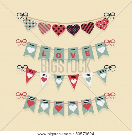 Love buntings and festive garlands decoration set