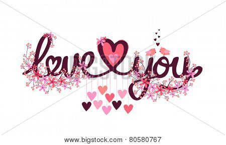 Beautiful flowers decorated text Love You with hearts for Happy Valentines Day celebration.