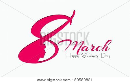 Creative text 8 March with pink silhouette of girls face on white background for Happy Women's Day celebration.